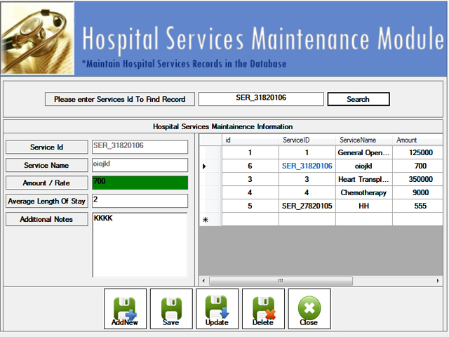 Hospital Services Maintenance