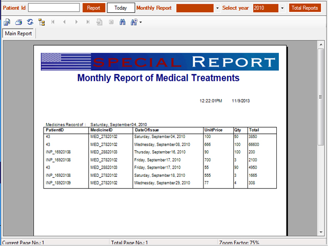 In patient medical treatment master report