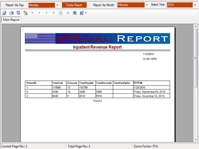 Inpatient revenue master report