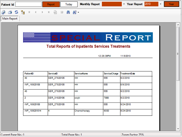 In patient medical services master report