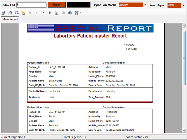Laboratory Patients Master report