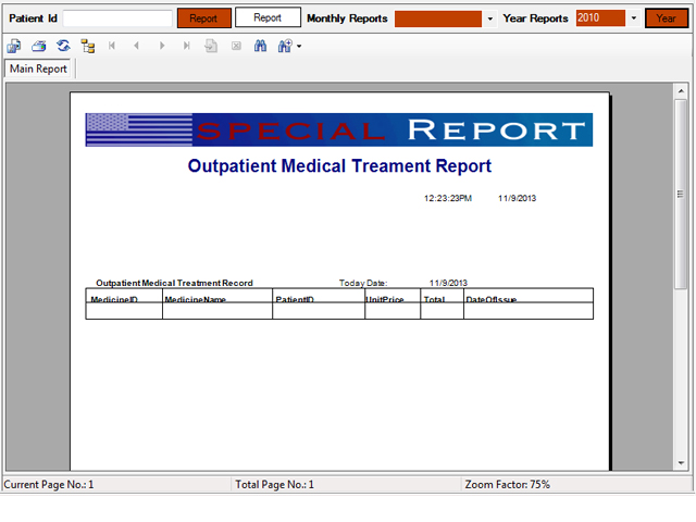 Out patient medical treatment master report