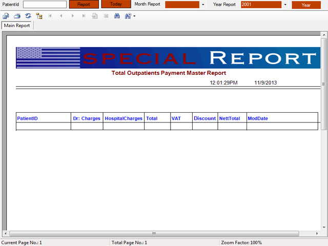 Out Patient payment and invoice report