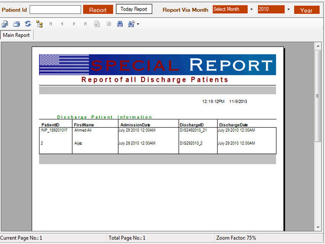 Patient discharge master report