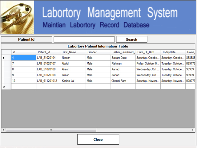 Laboratory Test Record
